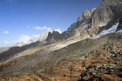 View on Plan de Aiguille du Midi mountain range in Chamonix, France Stock Images