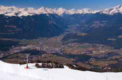 View from Plan de Corones towards Brunico Royalty Free Stock Image