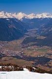 View from Plan de Corones towards Brunico Royalty Free Stock Photos