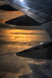 View from the Plane. View of the early morning sunrise from the plane royalty free stock photo