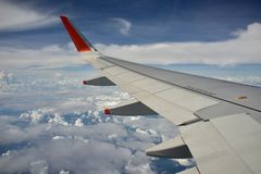 View from Plane  blue sky Stock Photos