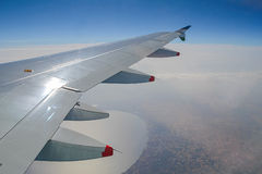 View from plane on Caspian sea Royalty Free Stock Photography