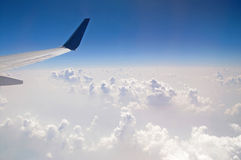 The view from the plane of the cloud vertical formation Royalty Free Stock Photos