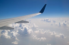 The view from the plane of the cloud vertical formation Stock Photos