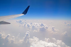 The view from the plane of the cloud vertical formation Stock Images