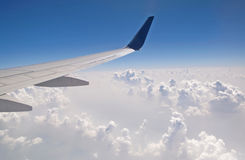 The view from the plane of the cloud vertical formation Stock Image