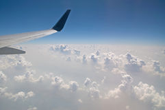 The view from the plane of the cloud vertical formation Royalty Free Stock Image