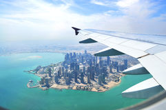 View from the plane Doha Royalty Free Stock Photos