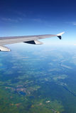 View from plane on european landscape Stock Photo