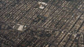 View From Plane Flying Over Residential Areas And Highway Of Los Angeles