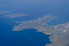 View from the plane - Malta. The northern part of the Maltese islands as seen from a plane Royalty Free Stock Images