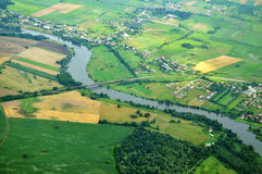 View from plane. Odra River - view from plane Royalty Free Stock Image