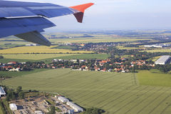 View from the plane on suburb of Prague Royalty Free Stock Images
