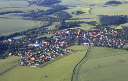 View from the plane on suburb of Prague Royalty Free Stock Image