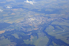 View from the plane on suburb of Prague Stock Image