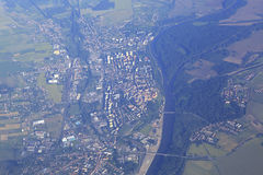 View from the plane on suburb of Prague Stock Photography