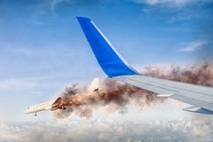 View from a plane to a burning aircraft stock photos