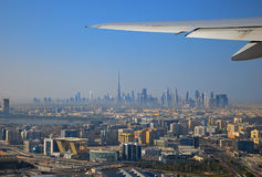 View from the plane to Dubai Royalty Free Stock Photo