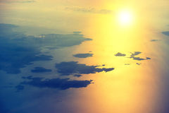 View from a plane to sunset on the sky Royalty Free Stock Photography