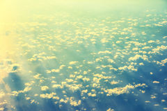 View from a plane to sunset on the sky Royalty Free Stock Image