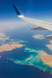 View from a plane window royalty free stock photography