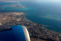 View from a plane window on the coast of Egypt Royalty Free Stock Images