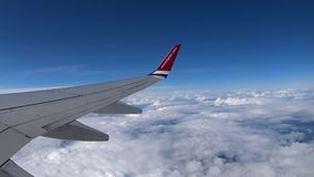 View from plane window on a Norwegian Air Shuttle flight stock video