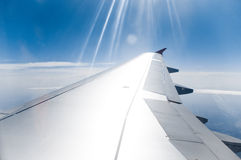 View on plane wing Stock Images