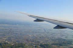 View from a plane on wing and on rural Stock Image