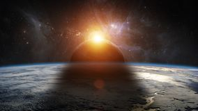 Eclipse of the sun on the planet Earth 3D rendering elements of Royalty Free Stock Photo