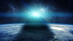 Eclipse of the sun on the planet Earth 3D rendering elements of Royalty Free Stock Photography