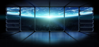 View of the planet earth from a huge spaceship window 3D renderi. View of planet earth from an observatory starship station in space 3D rendering elements of Stock Images