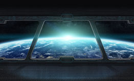 View of planet Earth from inside a space station 3D rendering el Royalty Free Stock Image