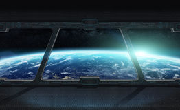 View of planet Earth from inside a space station 3D rendering el Stock Image
