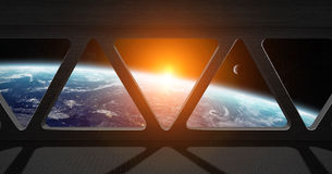 View of planet Earth from inside a space station Royalty Free Stock Images