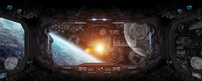 View of planet Earth from inside a space station. Window view of planet earth from a space station Royalty Free Stock Photography