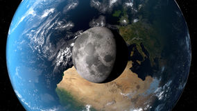View of the planet Earth with moon from space. 3D rendering elements of this image furnished by NASA.  Royalty Free Stock Image