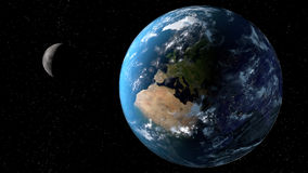 View of the planet Earth with moon from space. 3D rendering elements of this image furnished by NASA.  Stock Photos
