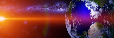 Planet Earth, lit by the Sun and the Milky Way galaxy 3d space science rendering, elements of this image are furnished by NASA. View on planet Earth from outer stock photos