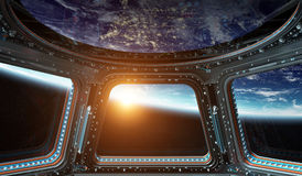 View of planet Earth from a space station window 3D rendering el. Window view of planet earth from a space station in space 3D rendering elements of this image Stock Images