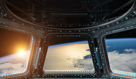 View of planet Earth from a space station window 3D rendering el. Window view of planet earth from a space station in space 3D rendering elements of this image Stock Photo
