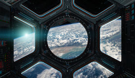 View of planet Earth from a space station window 3D rendering el. Window view of planet earth from a space station in space 3D rendering elements of this image Stock Image