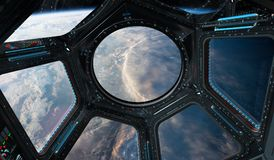View of planet Earth from a space station window 3D rendering el. Window view of planet earth from a space station in space 3D rendering elements of this image Stock Photos