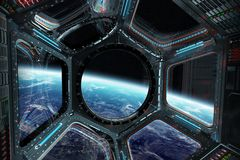 View of planet Earth from a space station window 3D rendering el. Window view of planet earth from a space station in space 3D rendering elements of this image Royalty Free Stock Images