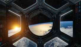 View of planet Earth from a space station window 3D rendering el. Window view of planet earth from a space station in space 3D rendering elements of this image Royalty Free Stock Photo