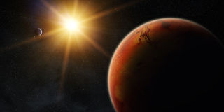 View of planet Mars. View of the planet Mars from space during a sunrise Stock Photos