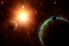 A view of planet, moons and the deep space. Stock Photo