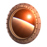 View On The Planet And Sun Through The Porthole Of Spaceship Royalty Free Stock Images
