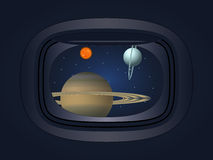 View of the planet through the window spacecraft Royalty Free Stock Photo