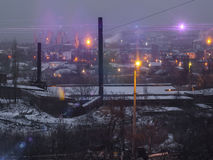 View of the plant and the city nightlife Stock Photography